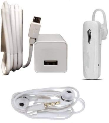 Mobile Geeks Wall Charger Accessory Combo for Oppo f1s / f3 / f3 Plus / f5 / f5 Youth / f7 / a83 / a37f / a37 / a71 / a57, F1S, F1 Plus, FIND 7/9, F3, A59S, R9S, and All Smart Phone (White)