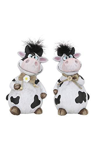 GILDE 2 Stück Dekofiguren Kühe Molly, 8,5x5,0x5,5cm Auston