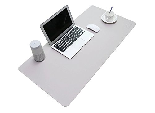 BUBM PU Leather Mouse Pad Mat Waterproof, Perfect Desk Writing Mat for Office and Home,Ultra Thin 2mm - 31.5'x15.8' (Gray)