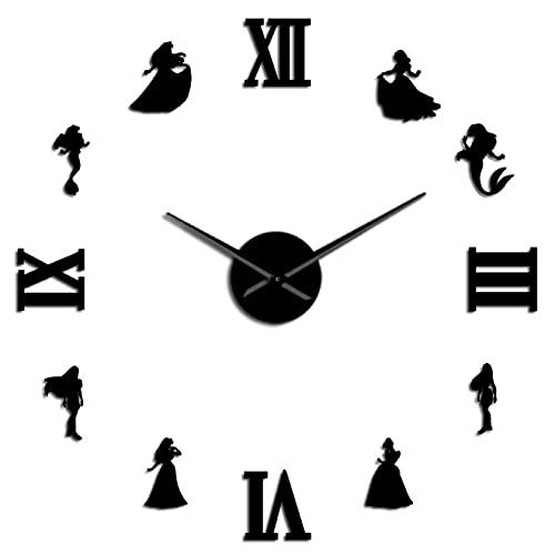 xinxin Reloj de Pared Sirena y Princesa Reloj de Pared DIY Estilo de Cuento de Hadas Reloj de Pared sin Marco Decoración de habitación...