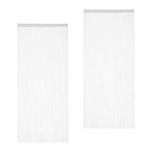 Relaxdays weiß, Fadenvorhang, 2er Set, kürzbar, mit Tunneldurchzug, für Türen & Fenster, Fadengardine, 90x245 cm, White, Pack 90x245cm
