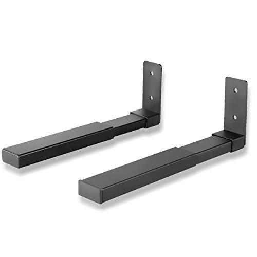 Suptek Soporte de pared para barra de sonido, soporte de pared para altavoz, par de soportes de altavoz, soporte de doble altavoz para altavoz de canal central, SPLK201, color negro