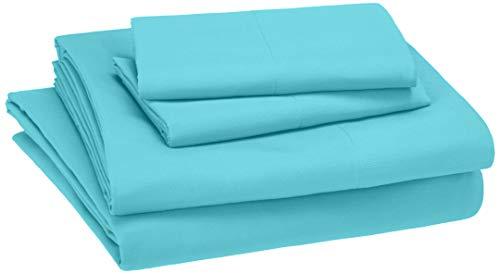 AmazonBasics Kid's Sheet Set - Soft, Easy-Wash Lightweight Microfiber - Full, Bright Aqua