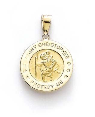 Collar redondo de oro amarillo de 14 quilates con medallón de San Cristóbal para mujer