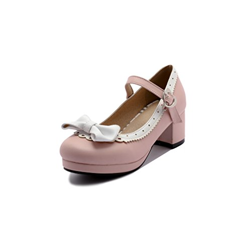 ELFY Women's Cute Lolita Cosplay Shoes Bow Mid Chunky Heel Mary Jane Pumps Pink 8