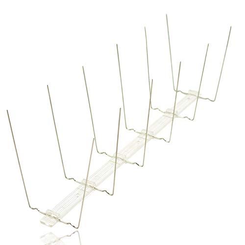 Edelstahl Taubenabwehr 2 reihig auf Polycarbonatleiste/Kunststoff Vogelabwehr Gesamtlänge 10 Meter, 30 Stück á 0,333 cm Taubenschutz Spikes für Balkon, Fensterbrett, Dachrinne, Dachfirst, Geländer