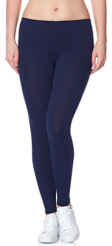 Ladeheid Damen Leggings Long aus Baumwolle LAMA02 (Dunkelblau14, 2XL/3XL)