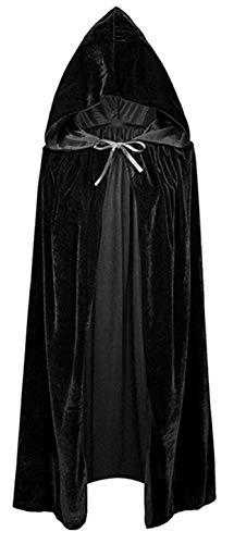 KIRALOVE Capa de Vampiro - drcula Negra con Capucha - Adultos - Largo - Terciopelo - Chenilla - Nosferatu - Disfraz - Carnaval - Halloween - Cosplay - Hombre - Mujer Cosplay