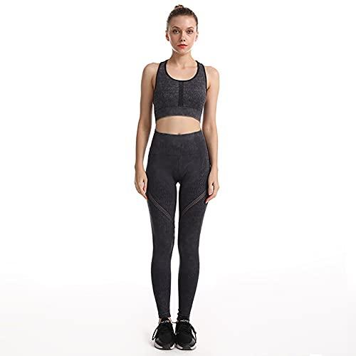 qddan Ropa Deportiva de Mujer, Conjunto de Yoga, Gimnasio, Ropa de Vestir, Traje de Seguimiento, Parte Superior y Leggings, Estiramiento de Yoga Ejercicio. (Color : Negro, tamaño : Small)