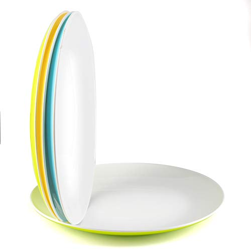 Large Plastic Dinner Plates Dishes Tableware Plate Service Snacks - Set of 4