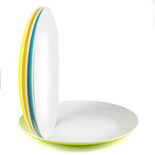Platos plastico duro reutilizable cocina desayuno postre aperitivos fiesta - juego de 4 platos grandes