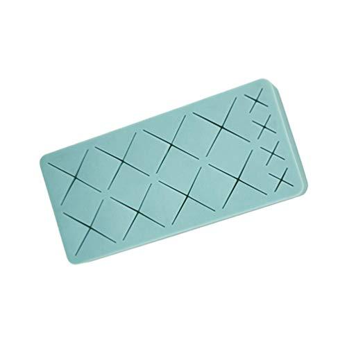 Cabilock 12 grilles de silicone support de rouge à lèvres brosse cosmétique séchage rack maquillage crayon à sourcils organisateur présentoir (bleu)