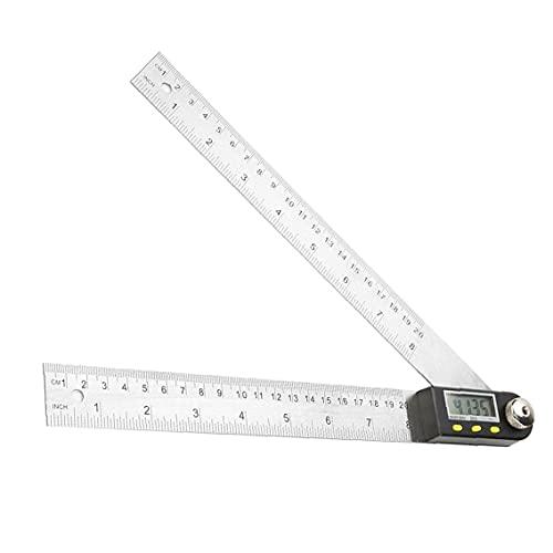 GCX Conveniencia Regla de Acero Inoxidable del Protractor de ángulo Digital de 0-200 mm para la medición de la carpintería Pantalla LCD De múltiples Fines