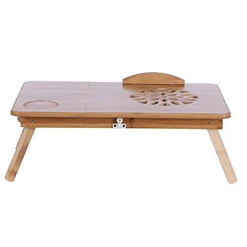 Mesa de escritorio de cama para computadora portátil, bandeja plegable de bambú para mesa de computadora portátil, cajón de almacenamiento ajustable para computadora, iPad, escritura, lectura(#1)