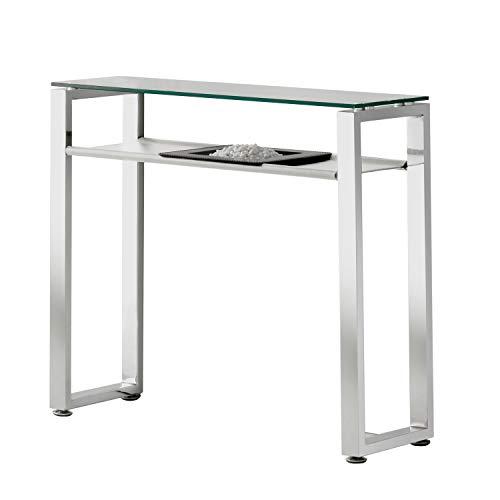 Benetto, Recibidor de Cristal, Mueble de Entrada, Acabado en Simil Piel Blanco y Cromo, Medidas: 90 cm (Largo) x 30 cm (Fondo) x 80 cm (Alto)