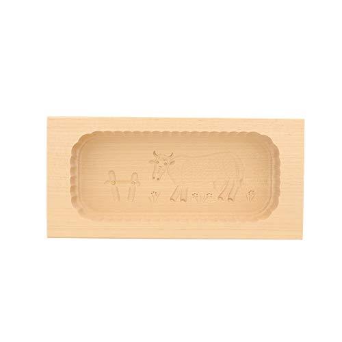 HOFMEISTER® Butterform, für 500 g Butter, 25 cm, Kuh, handgefertigt in Deutschland, Butter-Form zum Dekorieren, eckige Sturz-Form, Butter-Model aus heimischem Ahorn-Holz