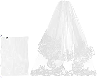 Kloud City Bridal Veil Fingertip Length 1 Tier 1.5M Floral Embroider Lace Edge Wedding Veil with Comb