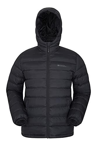 Mountain Warehouse Seasons Herrenjacke - Gefüttert, leicht, wasserbeständige Regenjacke, Mikrofaserfüllung - Ideal für den Winter Schwarz M