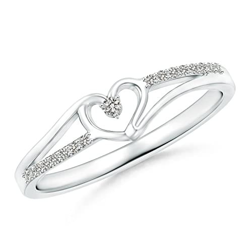 Round Diamond Split Shank Heart Promise Ring for Her (0.08 Cttw, Color:K, Clarity:I3) in Silver, Size 8.5