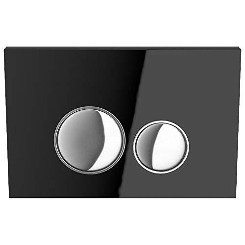MYLAVABO Drückerplatte aus Glas, passend nur zu SIGMA Serie/Geberit Duofix UP320 / (111300005), 2-Mengen Spülung (Schwarzes Glas), Betätigung von vorne