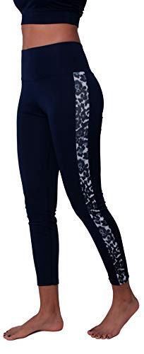 Pantaloni da Yoga Donna Fitness Yoga Leggings Patchwork Leopardo a Vita Alta Controllo della Pancia, Blu Scuro Grigio Leopardo 84540 XL-XXL