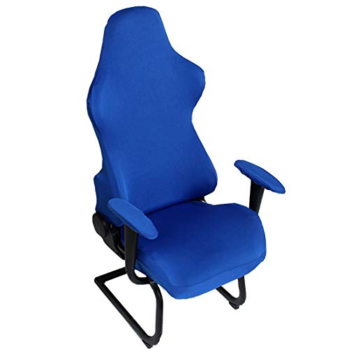 Deisy Dee Slipcovers Cloth Stretch Polyester Chair Cover for Reclining Racing Gaming Chair (Only Chair Covers) (Blue)