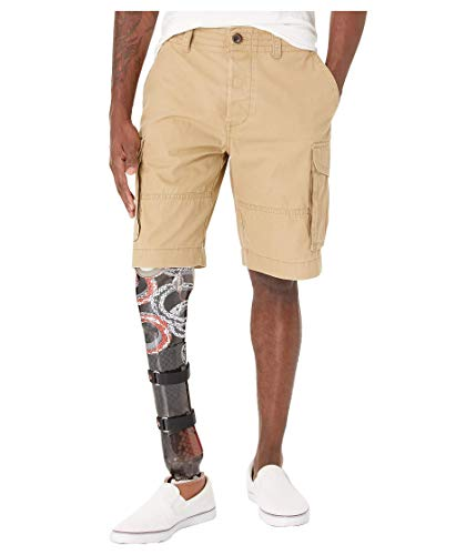 Tommy Hilfiger Men's Adaptive Cargo Shorts with Adjustable Waist and Velcro Magnet Fly, Chino 32