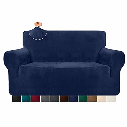 Granbest 1 Piece Luxury Stretch Velvet Sofa Cover for 2 Seater Couch Ultra Soft Thick Plush Couch Cover Pet Hair Proof Loveseat Sofa Slipcover Furniture Protector for Pets (2 Seater, Navy Blue)