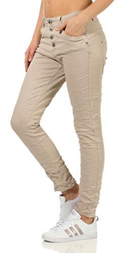 Karostar Damen Jeans Stretch Moderne Chino Lange Hose Boyfriend Pants Hüftjeans Skinny 58 (46, Beige)