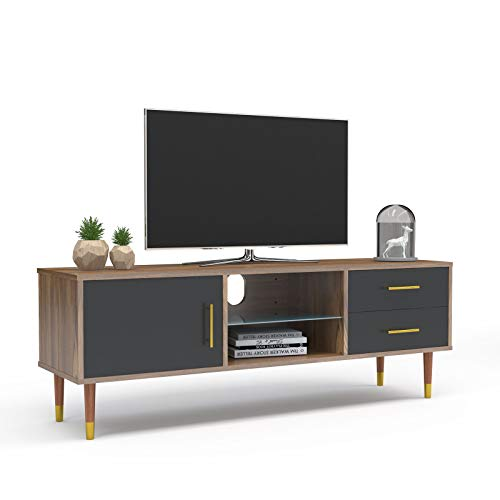Mecor Mid-Century TV Stand for TV's up to 55'', Modern Entertainment Center, Media TV Stand Storage Console Table w/Storage Cabinet, Drawers and Glass Shelf, Walnut/Black
