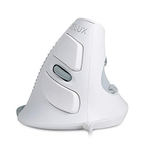 DeLux Ratón Vertical con Cable ergonómico, 3 dpi Ajustables (600 – 1000 – 1600 dpi), 6 Botones, reposamuñecas extraíble, ratón óptico para Ordenador portátil, Color Blanco