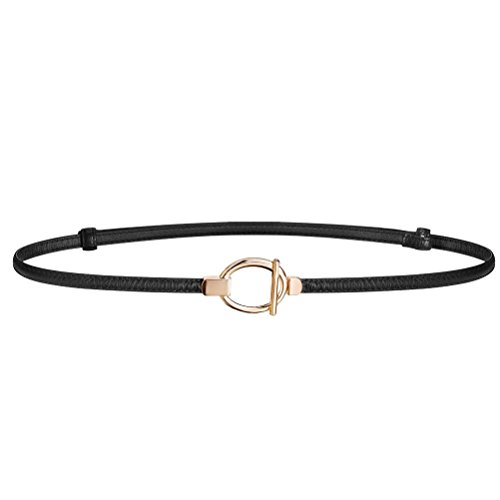 HBF Cintura Sottile Donna in Pelle Accessori donna Cintura Nera Regolabile