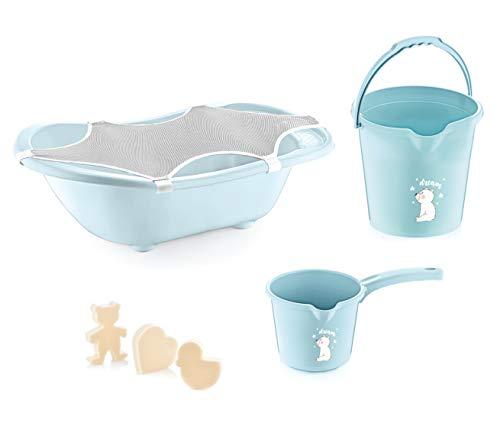 BabyJem Babywannenset für Neugeborene mit 5 Teilen, Baby Badewanne, Baby Bath Set Badezimmer Eimer, Badnetz, Blau