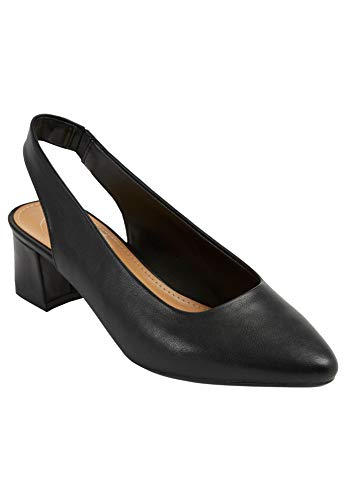 Comfortview Women's Wide Width The MEA Slingback Heeled Shoes - 10 1/2W, Black