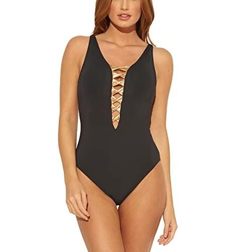 Bleu Rod Beattie Womens Plunging Halter One-Piece Swimsuit Black 10