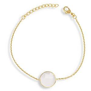 Armband, Mondstein, facettiert, auf vergoldeter Kette, Feingold
