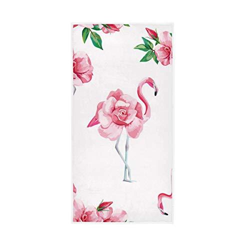 Selerdon Pink Flamingos Rose Hand Towels Flamingos and Flowers Bath Towel Guest Towel Home Bathroom Decorations 15x30 Inch
