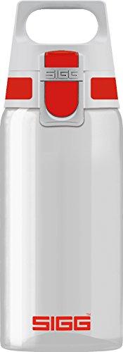 SIGG Total Clear ONE Red Botella cantimplora (0.5 L), botella hermética sin sustancias nocivas, botella transparente y ligera de plástico tritán