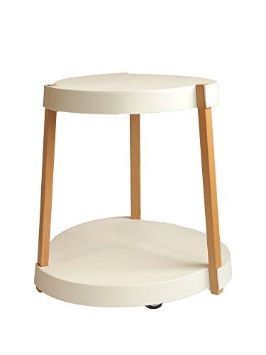 De hoge stoel Oasi, Art.808, bijzettafel/trolley met wielen, frame van natuurlijk beukenhout, plank van polypropyleen, wit, Ø 62 x 55 cm