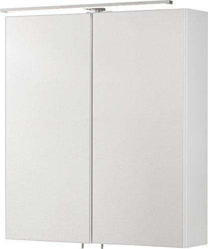 FACKELMANN LED Spiegelschrank Como/Badschrank mit Soft-Close-System/Maße (B x H x T): ca. 60 x 68 x 16 cm/Möbel für das WC oder Badezimmer/Korpus: Weiß/Front: Spiegel/Breite 60 cm