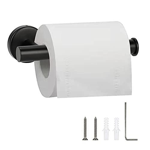 Toilet Paper Holder Brush Steel, Matte Black Toilet Paper Roll Holder SUS304 Stainless Steel Bathroom Tissue Holder Wall Mount for Bathroom, Kitchen, Washroom (Black)