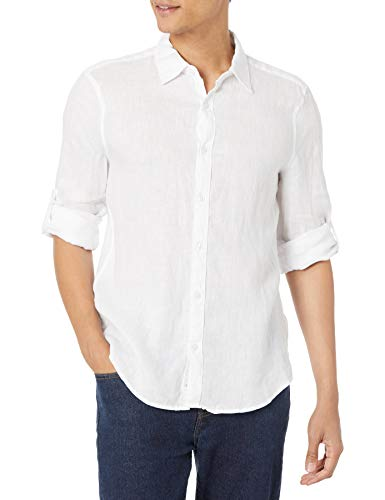 Perry Ellis Men's Long Sleeve Solid Linen Shirt, Bright White, Large