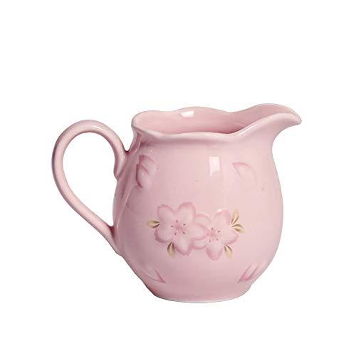 Zuccheriera in ceramica con coperchio e cucchiaio, per la casa e la cucina, 245 ml, colore: rosa creamers rosa