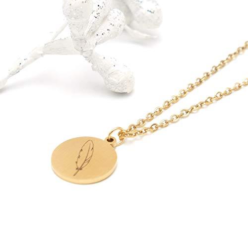 LUCIL® - SEELEN FEDER - Halskette Kette mit Anhänger ca. 42 bis 45 cm verstellbar Farbe: gold