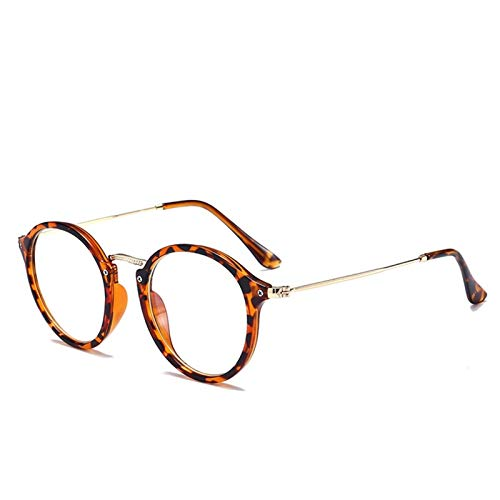 Gafas redondas Gafas de marco Mujeres Espejos Espeleos Marcos Mujeres/Hombres Anti Blue Light Globes 210103 (Frame Color : Leopard T)
