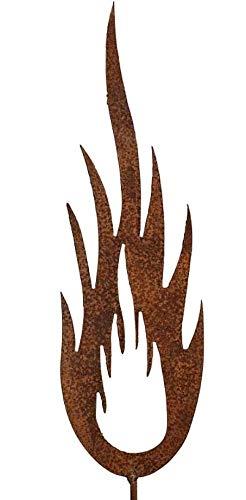 Edelrost Flamme (046) lodernd groß 47cm zum Stecken Weihnachten Garten Deko
