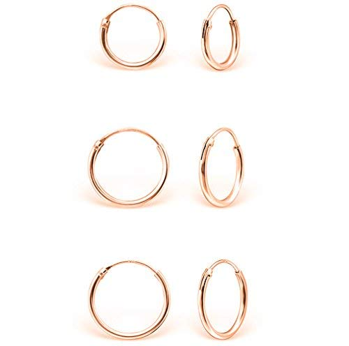 DTPsilver - Damen - Klein Creolen - 3 Paar Ohrringe 925 Sterling Silber Rosen-Gold überzogen - Dicke 1.5 mm - Durchmesser 8, 10, 12 mm