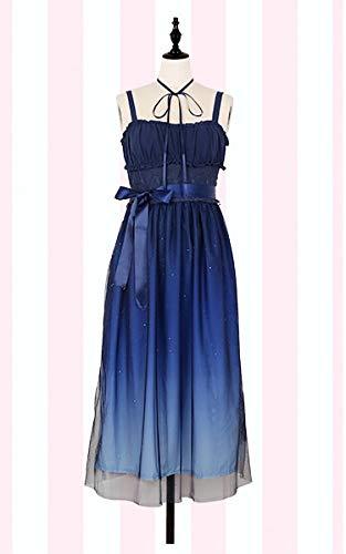 LJYNB Shinning Stars Vestido Lolita Gradient Star Blue Girls Vestido de lujo sólido Vestido plisado con pliegues de encaje con conjunto de camisa L solo vestido largo