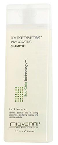 Giovanni, Shampoo mit Teebaum-Pflanzstoffen, mit dreifacher Wirkung, Shampoo, 250 ml
