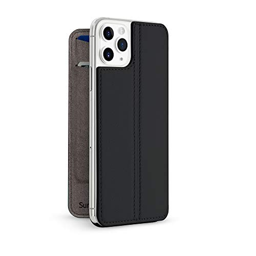 Twelve South SurfacePad for iPhone 11 Pro Max | Ultra-Slim Luxury napa Leather Cover + Display Stand with Sleep/Wake (Black)